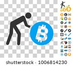 worker roll bitcoin pictograph...