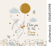 cute rabbit flying to the moon... | Shutterstock .eps vector #1006814398