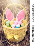 basket with colorful eggs... | Shutterstock . vector #1006818610