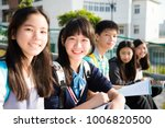group of teenage students study ... | Shutterstock . vector #1006820500