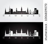 hamburg skyline and landmarks...   Shutterstock .eps vector #1006839070