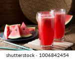 Watermelon Smoothie On Wood...