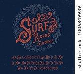 handmade surf font. vector | Shutterstock .eps vector #1006849939
