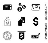 pay icons. set of 9 editable... | Shutterstock .eps vector #1006865674