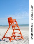 Empty Life Guard Stand On The...