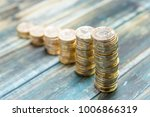 stacks of british one pound... | Shutterstock . vector #1006866319