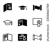diploma icons set of 9