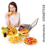 woman eating fast food at work. ... | Shutterstock . vector #100687018