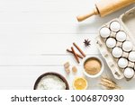 baking ingredients on white... | Shutterstock . vector #1006870930