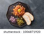 salmon tartare with yolk ...   Shutterstock . vector #1006871920