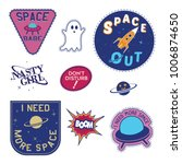 set of space  badge and patch... | Shutterstock .eps vector #1006874650