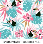 Stock vector floral background with tropical flowers leaves and toucans vector seamless pattern for stylish 1006881718