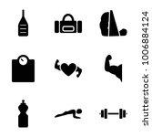 fitness icons. set of 9... | Shutterstock .eps vector #1006884124