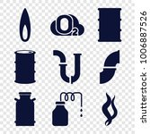 gas icons. set of 9 editable... | Shutterstock .eps vector #1006887526