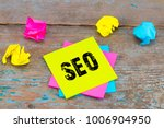 seo    on sticky note with... | Shutterstock . vector #1006904950