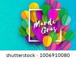 happy mardi gras in paper cut... | Shutterstock .eps vector #1006910080