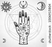 human hand painted with magic... | Shutterstock .eps vector #1006915804