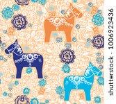 seamless pattern dalecarlian... | Shutterstock .eps vector #1006923436