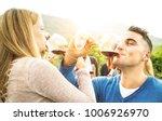 happy couple in love toasting...   Shutterstock . vector #1006926970