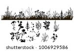 silhouette of grass and plants ... | Shutterstock .eps vector #1006929586