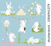 Stock vector a set of eight cute and funny rabbits rabbits and spring flowers hello spring cartoon vector 1006941379