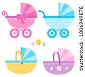baby strollers in blue  yellow... | Shutterstock .eps vector #1006949878