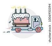 cake truck delivery sticker....   Shutterstock .eps vector #1006950394