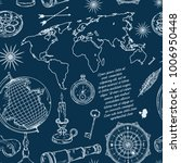 seamless pattern with globe ... | Shutterstock .eps vector #1006950448
