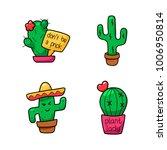 cactus cartoon set. vector... | Shutterstock .eps vector #1006950814