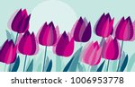 Purple Tulip Flowers With Dot...