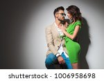 hot young embraced couple look... | Shutterstock . vector #1006958698