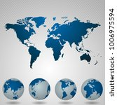 world map with angle in blue... | Shutterstock .eps vector #1006975594