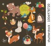 cute forest  woodland animals... | Shutterstock .eps vector #1006978720