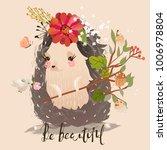 cute little hedgehog baby... | Shutterstock .eps vector #1006978804