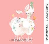 beautiful and cute fluffy llama ... | Shutterstock .eps vector #1006978849