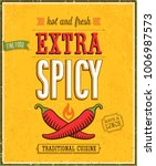 vintage extra spicy poster.... | Shutterstock .eps vector #1006987573