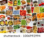 mosaic mix collage of food... | Shutterstock . vector #1006992994