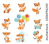 cute red foxes showing various... | Shutterstock .eps vector #1006996240