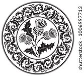 thistle flower and ornament... | Shutterstock .eps vector #1006997713