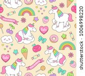 cute pastel unicorn and doodle... | Shutterstock .eps vector #1006998220