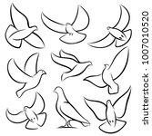 outline flying doves  white... | Shutterstock .eps vector #1007010520