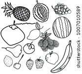 vector fruits pattern. fruits... | Shutterstock .eps vector #1007010589