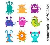 cartoon funny monsters vector... | Shutterstock .eps vector #1007010664