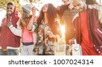group of happy friends walking... | Shutterstock . vector #1007024314