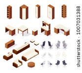 set of isometric furniture... | Shutterstock .eps vector #1007031388