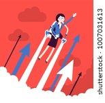 jetpack businesswoman flight.... | Shutterstock .eps vector #1007031613