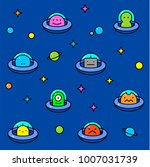 ufo aliens collection ... | Shutterstock .eps vector #1007031739