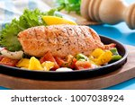grilled salmon and vegetables   Shutterstock . vector #1007038924
