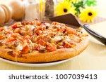 homemade bbq chicken pizza | Shutterstock . vector #1007039413