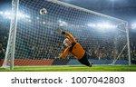 soccer goalkeeper in action on... | Shutterstock . vector #1007042803